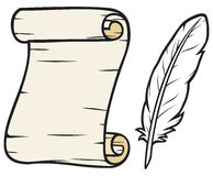 Old paper with feather Royalty Free Stock Photography