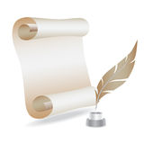 Old paper with feather.  Stock Photography