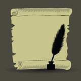 Old paper and feather. Colorful illustration with old paper and feather for your design Royalty Free Stock Photography