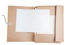 Old paper with file Stock Photos