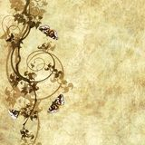 Old paper with floral pattern. Old paper with grape and butterflies, design for card or background Stock Images