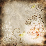 Old paper with floral pattern Stock Image