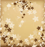 Old paper with floral silhouettes stock illustration