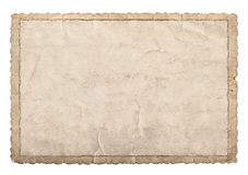 Old paper frame with carved edges for photos and pictures. Used cardboard texture isolated on white background Stock Images