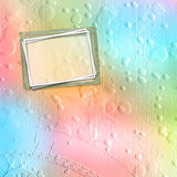 Old paper frame for congratulations or invitation. On abstract multicolored background Stock Photo