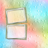 Old paper frame for congratulations or invitation. On abstract multicolored background Royalty Free Stock Photos