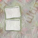 Old paper frame for congratulations or invitation. On abstract multicolored background Stock Images