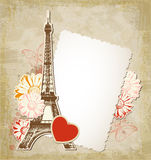Old paper frame and  Eiffel tower. Vector background with old paper frame and  Eiffel tower. Vintage travel background Royalty Free Stock Photos