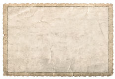 Old paper frame photos and pictures. Used cardboard texture. Old paper frame for photos and pictures. Used cardboard texture with carved edges isolated on white Royalty Free Stock Photos