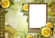 Old paper frame with a rose. On the vintage background Stock Photo