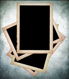 Old paper frames with frayed edges. On dirty background Stock Images