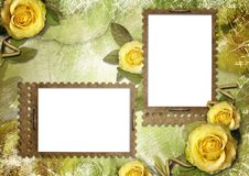 Old paper frames with a rose Royalty Free Stock Photos