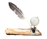 Old paper, globe and feather Royalty Free Stock Image