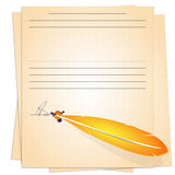 Old paper and gold pen. Leaves yellowed old paper, a gold pen and signed a blot; a template for the text in the old style stock illustration