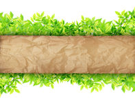 Old Paper on Green leaves. Synthesis background template Stock Photo