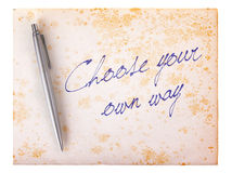 Old paper grunge background - Choose your own way Stock Photography