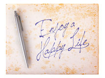 Old paper grunge background - Enjoy a happy life Royalty Free Stock Photos