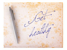 Old paper grunge background - Get healthy Stock Photo