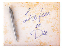 Old paper grunge background - Live free or die Stock Image