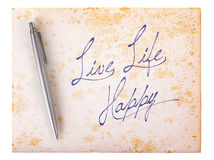 Old paper grunge background - Live life happy Royalty Free Stock Photography
