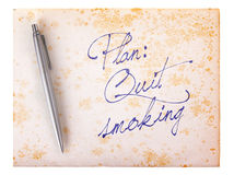 Old paper grunge background - Quit smoking Stock Photography