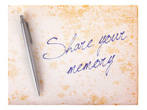 Old paper grunge background - Share your memory Stock Photo