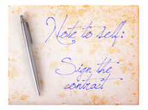 Old paper grunge background - Sign the contract Stock Photo