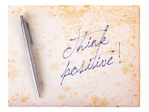 Old paper grunge background - Think positive Stock Images