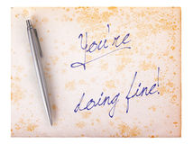 Old paper grunge background - You're doing fine Royalty Free Stock Photo