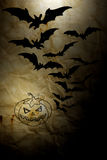 Old paper Halloween of background. Old paper Halloween with Bat and ghost Pumpkins Royalty Free Stock Image