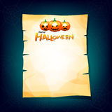 Old paper halloween pumkin on paper head with copy space vector Stock Photos