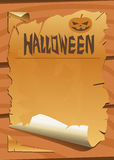 Old paper with halloween pumpkin Stock Image