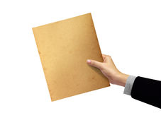 Old paper in hand, businesswoman Royalty Free Stock Photography