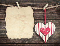 Old paper with heart and place for congratulations Valentine or Stock Image