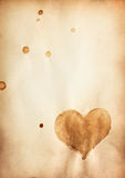 Old paper with heart symbol. And space for your own text stock images