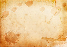 Old paper with hearts Stock Photography