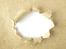 White hole on old paper Stock Images