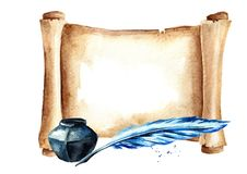 Old paper horizontal scroll with pen and inkwell. Watercolor hand drawn illustration isolated on white background. royalty free illustration