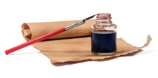 Old paper , ink-pot. Pen with path Royalty Free Stock Photo