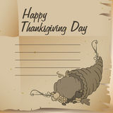 Old Paper Invitation in Thanksgiving Topic, Vector Illustration Royalty Free Stock Photo