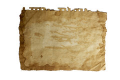 Old paper, isolated background. Textured old paper, isolated background Royalty Free Stock Photography