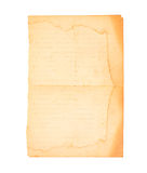 Old paper isolated. On a white background Royalty Free Stock Photos