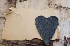Old paper and jeans heart Royalty Free Stock Image