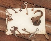 Old paper and keys Royalty Free Stock Photos