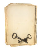 Old paper and keys. Stock Image