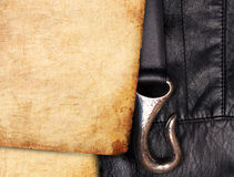 Old paper on leather background Royalty Free Stock Images