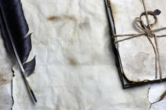 Old paper letter feather royalty free stock photo