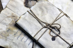 Old paper letter and feather. Retro style Royalty Free Stock Image