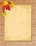 Old paper letter on wooden background. With yellow maple leafs, , illustration Stock Photos