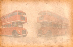 Old paper London Bus, London, UK. Added paper texture. Stock Photography